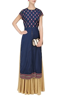 Navy Blue Floral Embroidered Jacket with Gold Skirt by Ridhi Arora