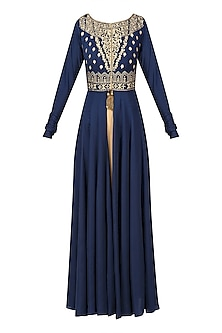 Navy Blue Floral Embroidered Jacket with Gold Straight kurta  by Ridhi Arora