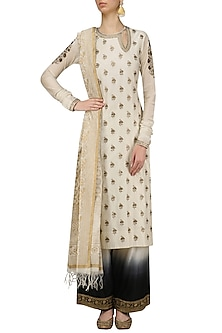 Off White Embroidered Kurta and Ombre Shaded Pants Set by Radhika Airi