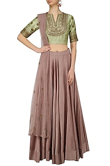 Pastle Green Embroidered Blouse and Dusty Rose Lehenga Set by Radhika Airi