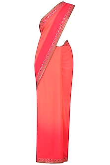 Neon Coral Embroidered Saree and Blouse Set by Radhika Airi