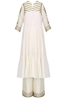 Off White Embroidered Tiered Kurta with Palazzo Pants by Radhika Airi