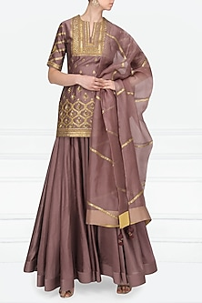 Mauve Embroidered Kurta with Lehenga Set by Radhika Airi