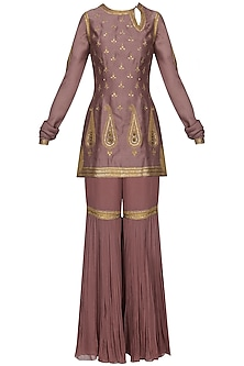 Mauve Embroidered Kurta with Gharara Pants Set