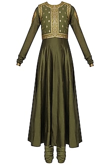 Olive Green Embroidered Anarkali Set with Waistcoat
