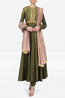 Olive Green Embroidered Anarkali Set with Waistcoat by Radhika Airi