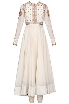 Off White Embroidered Anarkali Set with Waistcoat
