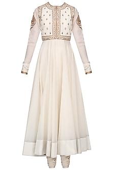 Off White Embroidered Anarkali Set with Waistcoat by Radhika Airi