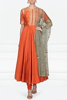 Burnt Orange Embroidered Anarkali Set by Radhika Airi