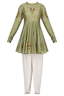 Pista Green Embroidered Short Kurta with Off White Tulip Pants by Radhika Airi