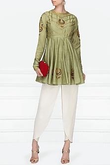 Pista Green Embroidered Short Kurta with Off White Tulip Pants by Radhika Airi