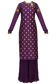 Purple Embroidered Kurta with Gharara Pants Set