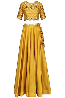 Mustard Embroidered Lehenga Set