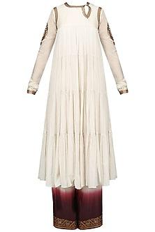 Off White Embroidered Tier Kurta with Pants Set by Radhika Airi