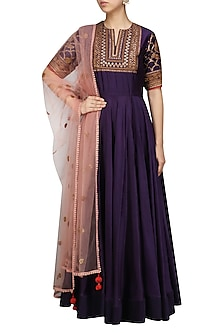 Purple Embroidered Anarkali Set