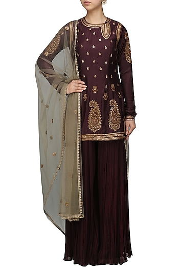 Wine Embroidered Kurta Sharara