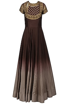 Wine To Grey Ombred Embroidered Anarkali Set