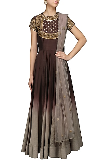 Wine To Ombred Embroidered Anarkali