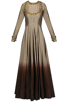 Grey To Wine Ombred Embroidered Anarkali Set