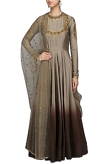 Grey To Ombred Embroidered Anarkali