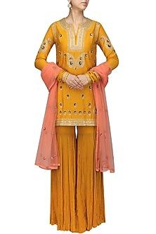 Mustard Embroidered Kurta with Gharara Set by Radhika Airi