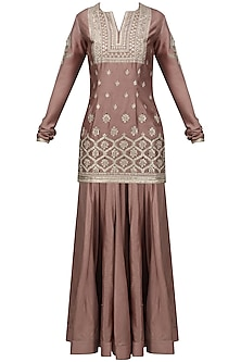 Grey Embroidered Kurta with Lehenga Set