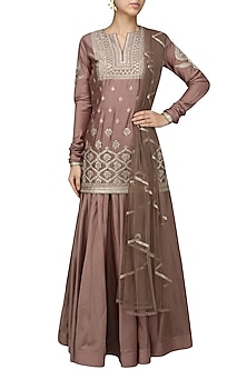 Grey Embroidered Lehenga Set