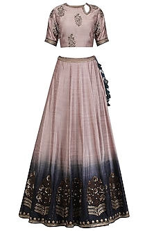 Ash Pink and Black Embroidered Ombre Lehenga Set by Radhika Airi