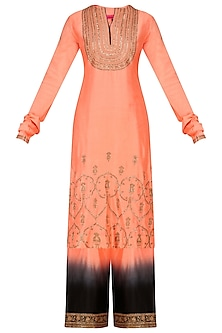 Orange Embroidered Kurta and Black Pants Set by Radhika Airi