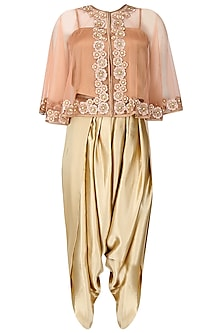 Peach Floral Thread Embroidered Cape with An Inner and Dark Beige Dhoti Pants Set