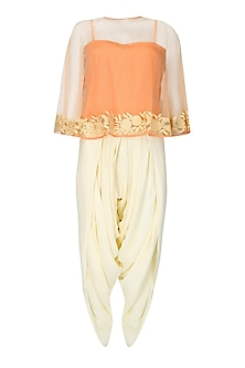 Peach Floral Thread Embroidered Cape with An Inner and Ivory Dhoti Pants Set by Ridhi Arora