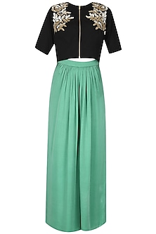 Black Embroidered Flower Motifs Crop Top and Green Palazzo Pants Set
