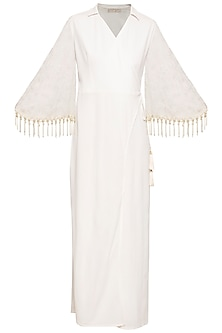 Ivory embroidered fringe jumpsuit