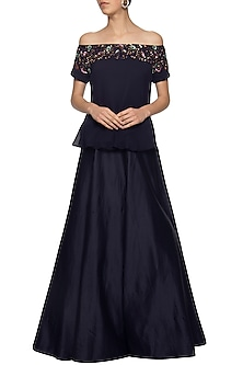 Navy blue embroidered cape with skirt by Ridhi Arora