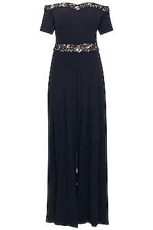 Navy blue embroidered off shoulder jumpsuit