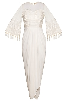 Ivory embroidered drape maxi dress