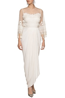 Ivory embroidered drape maxi dress by Ridhi Arora