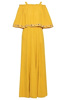 Mango yellow embroidered jumpsuit