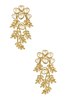 Gold Finish Kundan Crystal Leaf Motif Earrings by Rohita and Deepa