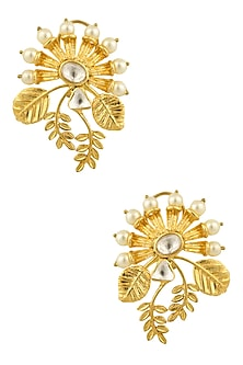 Gold Finish Kundan Crystal and Pearl Leaf Earrings by Rohita and Deepa