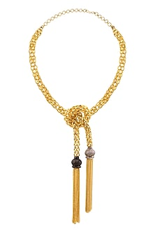 Gold Finish Cubic Zircon Detailing Tassel Necklace by Rohita and Deepa