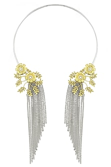 Silver Finish 2 Toned Floral Motif Tassel Necklace by Rohita and Deepa
