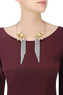 Silver Finish 2 Toned Floral Motif Tassel Necklace