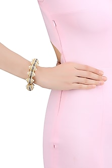 Matte Gold Finish Baby Pearls and Cubic Zircon Dome Bracelet by Rohita and Deepa