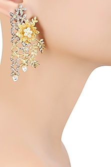 Matte Gold Finish Cubic Zircon Floral Motif Earrings by Rohita and Deepa