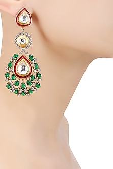 Matte Gold Finish Green Onyx and Kundan Crystal Earrings