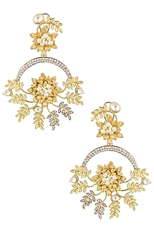 Matte Gold Finish Kundan Crystal Leaf Motif Earrings by Rohita and Deepa