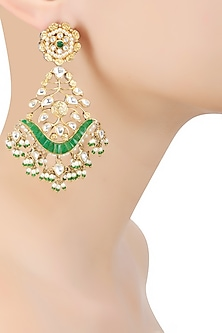 Matte Gold Finish Green Stone and Kundan Crystal Danglers Earrings