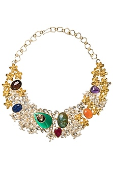 Gold Plated Baby and Natural Stone Necklace by Rohita and Deepa