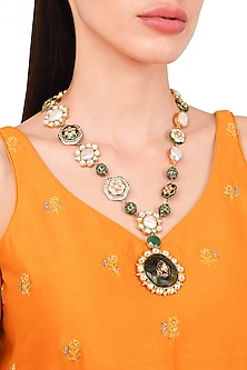 Gold Plated Kundan and Meena Kari Necklace by Rohita and Deepa